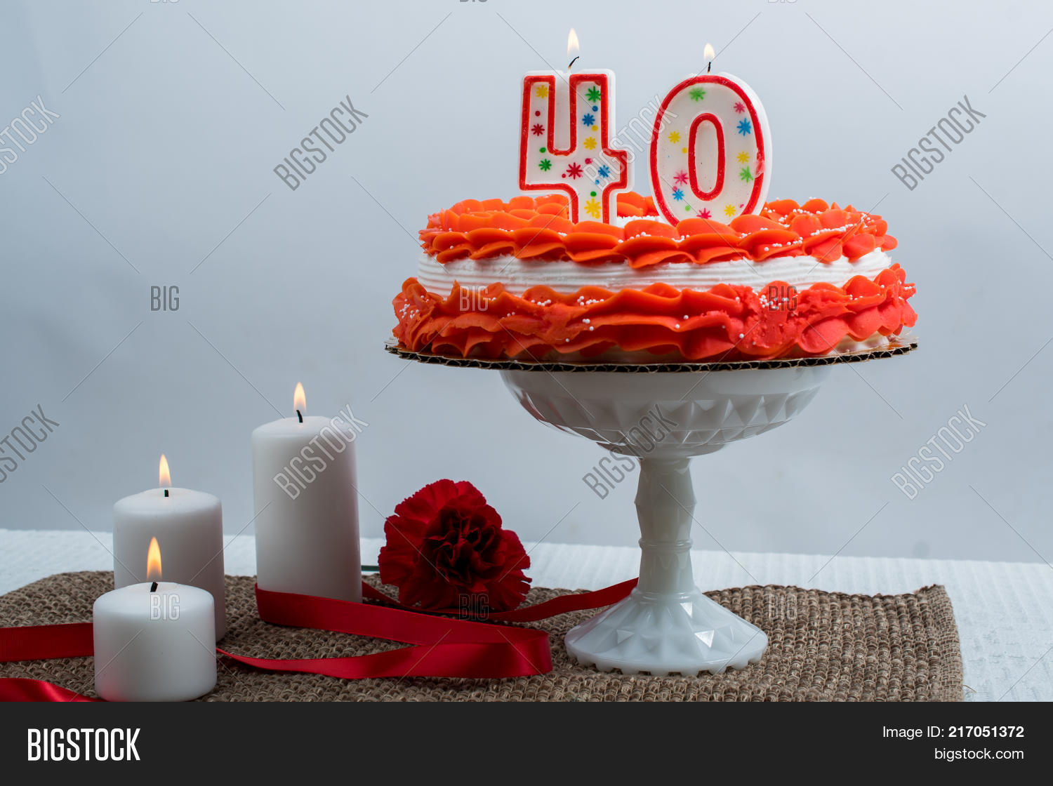 Frosted Cake 40 Candle Image Photo Free Trial Bigstock