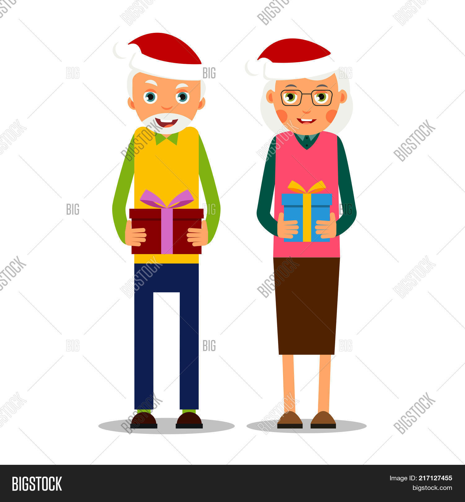 hristmas elderly older couple with presents for christmas grandmother and grandfather stand together and