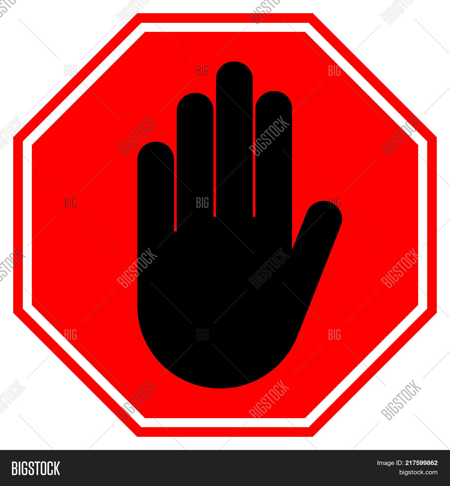 Stop Hand Sign No Image Photo Free Trial Bigstock