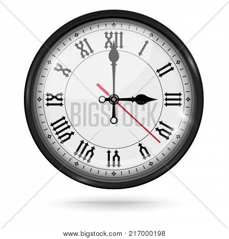 Retro clock with roman numerals and vintage hour and minute hand. Vector 3d illustration isolated on white background