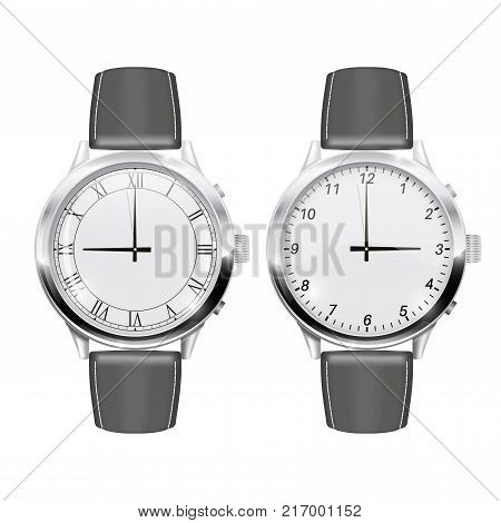 Men wrist watches. With gray leather band. Vector 3d illustration isolated on white background