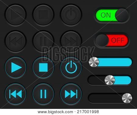 Media player buttons set. Normal and active pushed. With sliders and ON and OFF buttons. Vector illustration