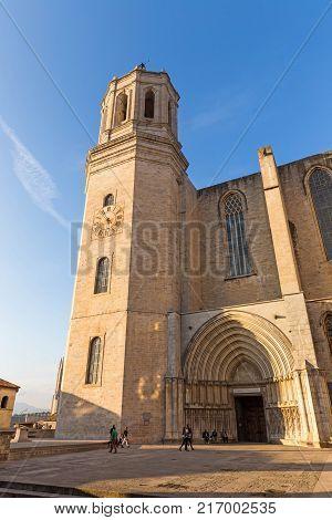 Santa Maria Cathedral. Gerona, Costa Brava, Catalonia, Spain.