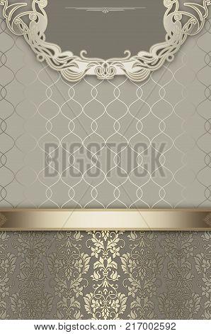 Decorative background with vintage floral patterns and decorative border. Vintage invitation card design.