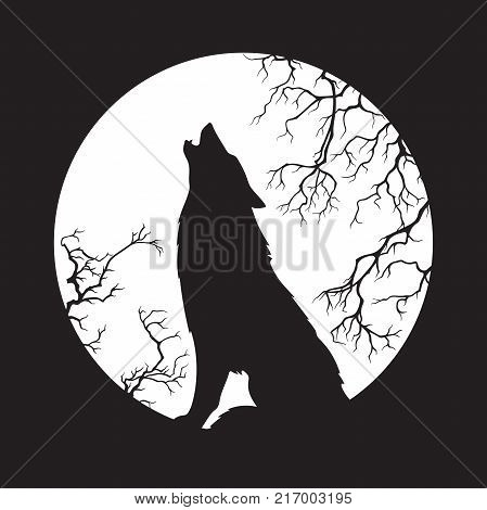 Silhouette of wolf howling at the full moon vector illustration. Pagan totem wiccan familiar spirit art. poster