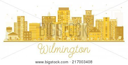 Wilmington USA City skyline golden silhouette. Business travel concept. Cityscape with landmarks.