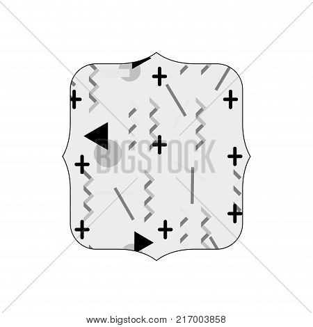 grayscale quadrate with memphis geometric art background vector illustration