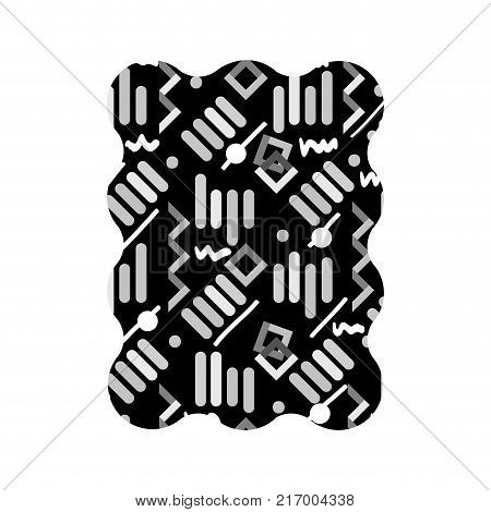 contour grayscale rectangle with memphis graphic style background vector illustration