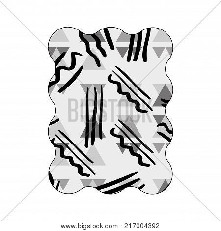 contour grayscale rectangle with geometric memphis style background vector illustration
