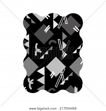 contour grayscale rectangle with graphic abstract memphis background vector illustration