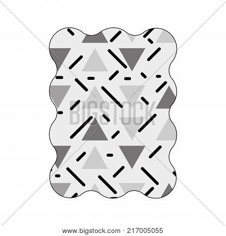 contour grayscale rectangle with graphic figure memphis background vector illustration