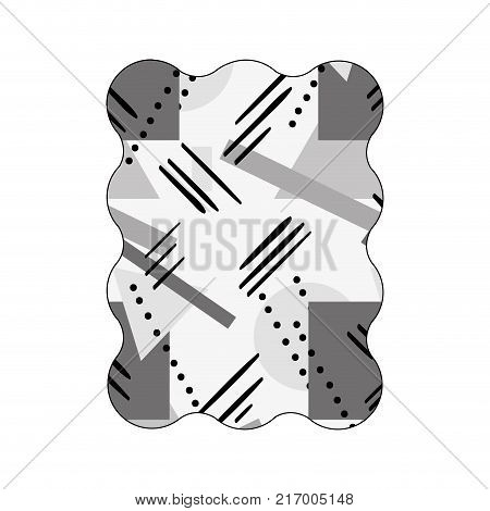 contour grayscale rectangle with figures geometric style background vector illustration
