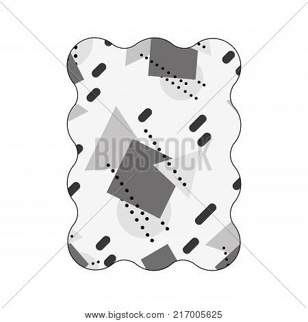 contour grayscale rectangle with graphic geometric art background vector illustration