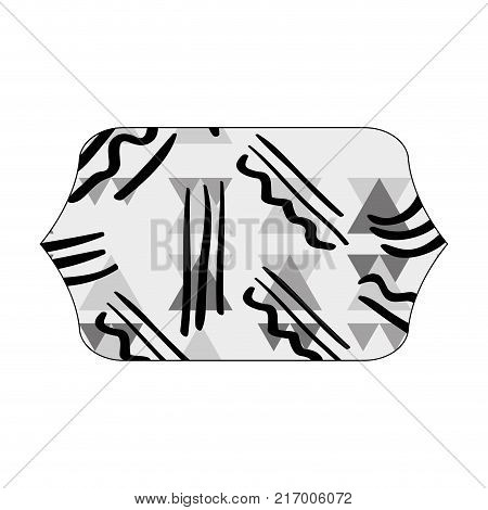 grayscale contour rectangle with geometric memphis style background vector illustration