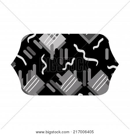 grayscale contour rectangle with graphic memphis geometric background vector illustration