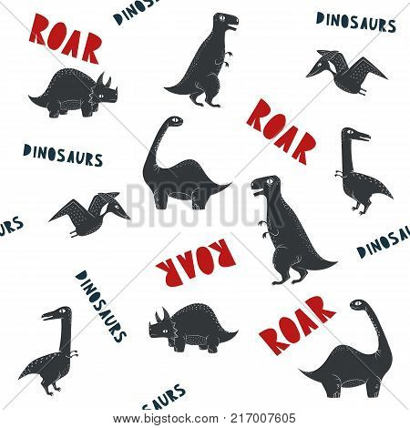 Vector dinosaur pattern. Dino seamless with text roar white background