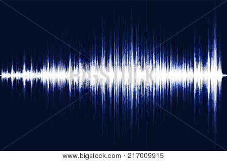 Blue musical equalizer. Sound wave. Radio frequence. Vector illustration