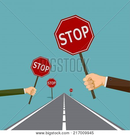 Human hands hold the road signs stop. Stock vector graphics.