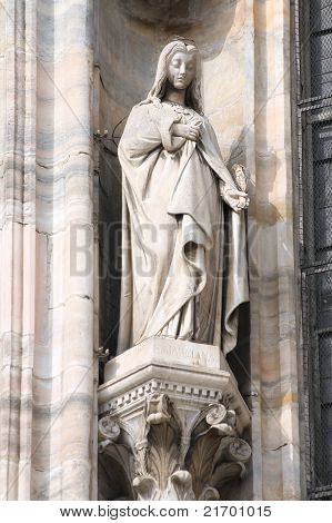 Saint Marciana the martyr. One of statues in the Cathedral of Milan (Italy). poster