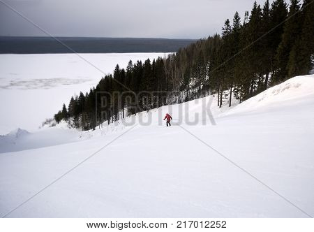 A skier is skiing down the slope in a forest. Man is wearing red jacket.