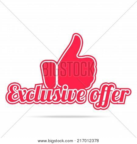 Exclusive offer label. Red color, isolated on white. Vector illustration