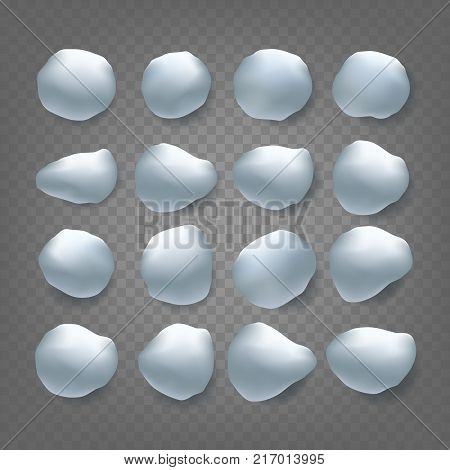Snowballs Set Vector. Snowballs, Snowdrift. New Year Winter Ice Element. Realistic Snow Caps. Isolated On Transparent Background Illustration