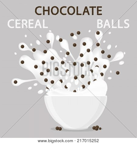 Abstract vector icon illustration logo for white milk cereal in bowl chocolate flakes balls. Cereal pattern consisting of bowls plate is filled with various breakfasts. Eat breakfast cereals in Bowl