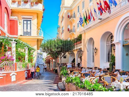 Capri Italy - October 3 2017: Tourists at Street cafes on Capri Island Italy