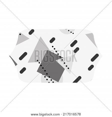 grayscale contour rectangle with graphic geometric art background vector illustration