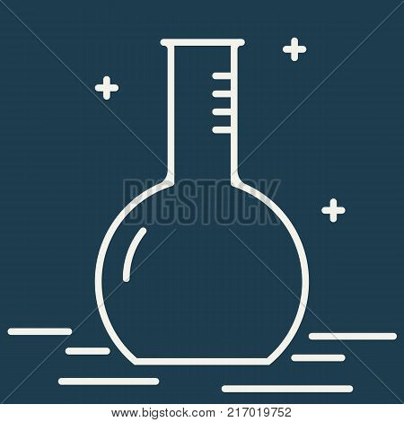 Chemical round bottom flask vector line icon. Chemical laboratory equipment vector sign. Scientific research illustration. Design element for poster, brochure. Graphic template for your design.