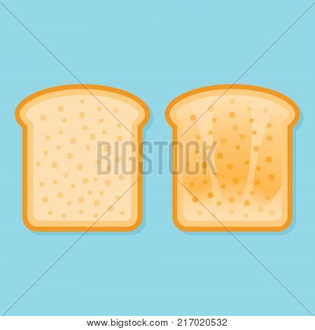 Fresh and toasted bread. Slice of toast isolated on blue background. Flat style vector illustration.