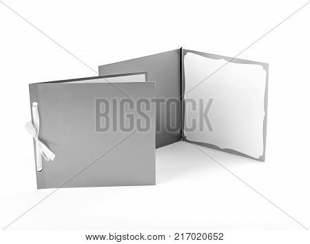 Silvery greeting cards on a white background