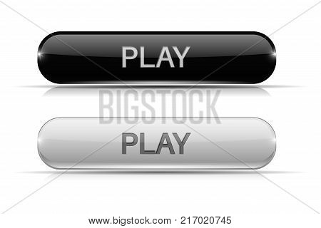 Play glass buttons. Black and white shiny 3d icons. Vector illustration isolated on white background