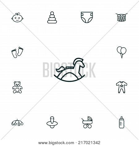 Collection Of Drum, Rocking Horse, Pyramid And Other Elements.  Set Of 13 Child Outline Icons Set.