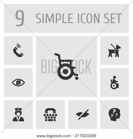 Collection Of Assistance, Tty, Stroller And Other Elements.  Set Of 9 Accessibility Icons Set.