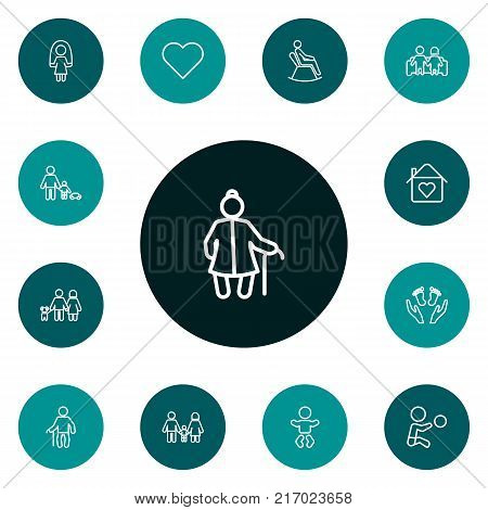 Collection Of Care, Baby, Playing And Other Elements.  Set Of 13 Relatives Outline Icons Set.