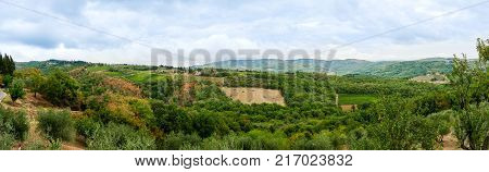Panoramic view on a typical Tuscan lanscape in the surrounding area of Siena, Italy