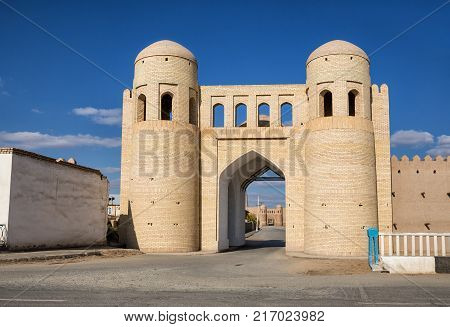 The restored southern gate Angaryk of the outer fortress Dishan kala and behind them the gate Tash-Darvaza of the inner fortress Ichan-Kala. Khiva Uzbekistan