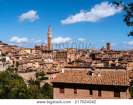 View on the medieval city of Siena in Tuscany, with the belltower or campanile clearly visisble
