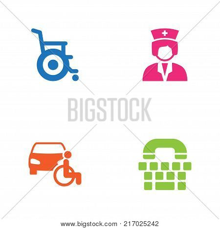 Collection Of Disabled Vehicle, Assistance, Tty And Other Elements.  Set Of 4 Accessibility Icons Set.