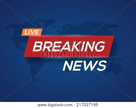 Breaking news. World news with map backgorund. Breaking news modern concept. TV news design.