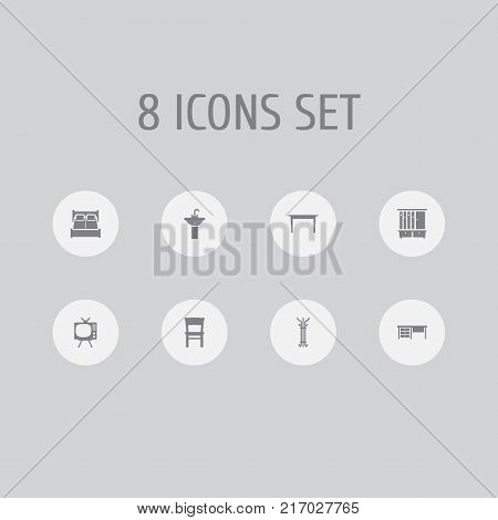 Collection Of Wardrobe, Sink, Worktop And Other Elements.  Set Of 8 Decor Icons Set.