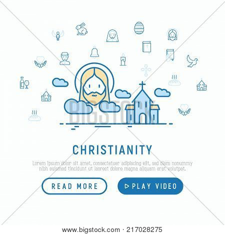 Christianity concept with thin line icons of priest, church, nun, crucifixion, Jesus, bible, dove. Modern vector illustration, template for web page.
