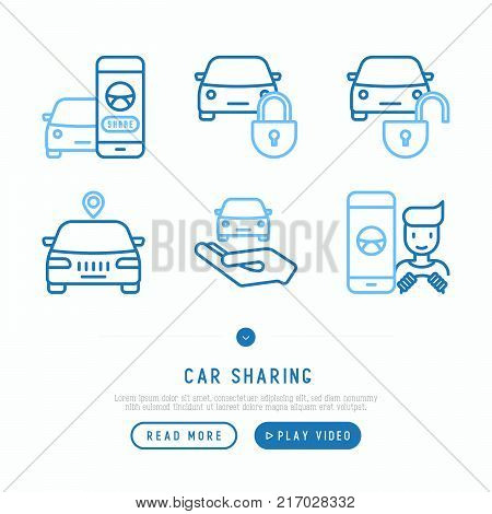 Car sharing thin line icons set of mobile app, key, blocked car, pointer, available, searching of car, pointer. Modern vector illustration.