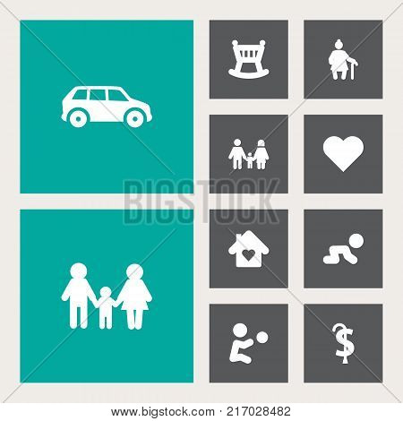 Collection Of Playing, Pension, Creep Baby And Other Elements.  Set Of 10 Family Icons Set.