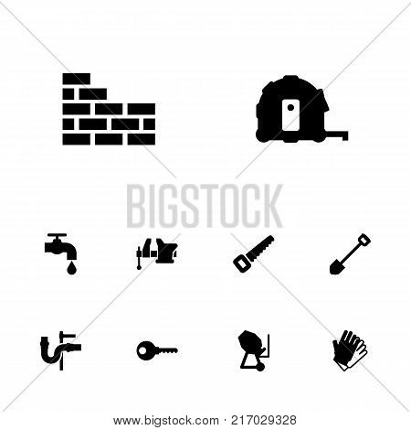 Collection Of Cement Machine, Brick Wall, Gauntlet And Other Elements.  Set Of 10 Architecture Icons Set.
