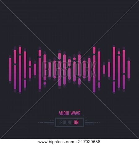 Sound wave line illustration. Gradient music equalizer. Dark background. Logo icon or banner for audio track. Simple abstract wavefprm. Linear modern trendy vector.