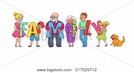 Happy parents, grandparents, kids and dog holding letters of FAMILY word, cartoon vector illustration isolated on white background. Happy parents, grandparents and grandchildren, Family concept