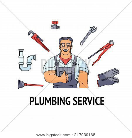Plumbing service banner, poster design - half length portrait of happy plumber and round frame made by tools and equipment, cartoon vector illustration isolated on white background. Plumber and tools