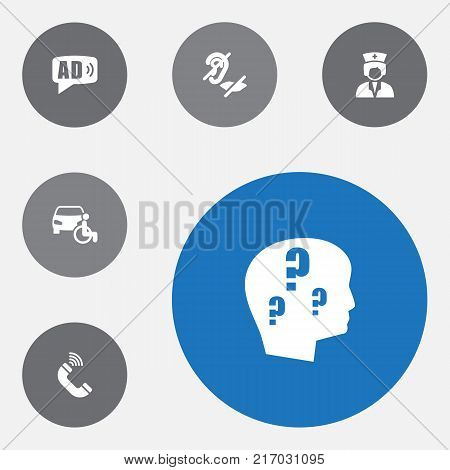 Collection Of Phone, Assistance, Mute And Other Elements.  Set Of 6 Accessibility Icons Set.